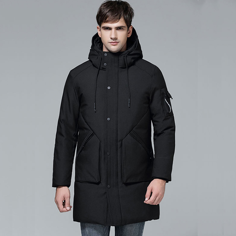 2018 Men Winter Hooded   Down     Coats   Medium Long Korean Slim Thicked Thermal Male Youth Jackets Solid Fashion Long Sleeve Casual