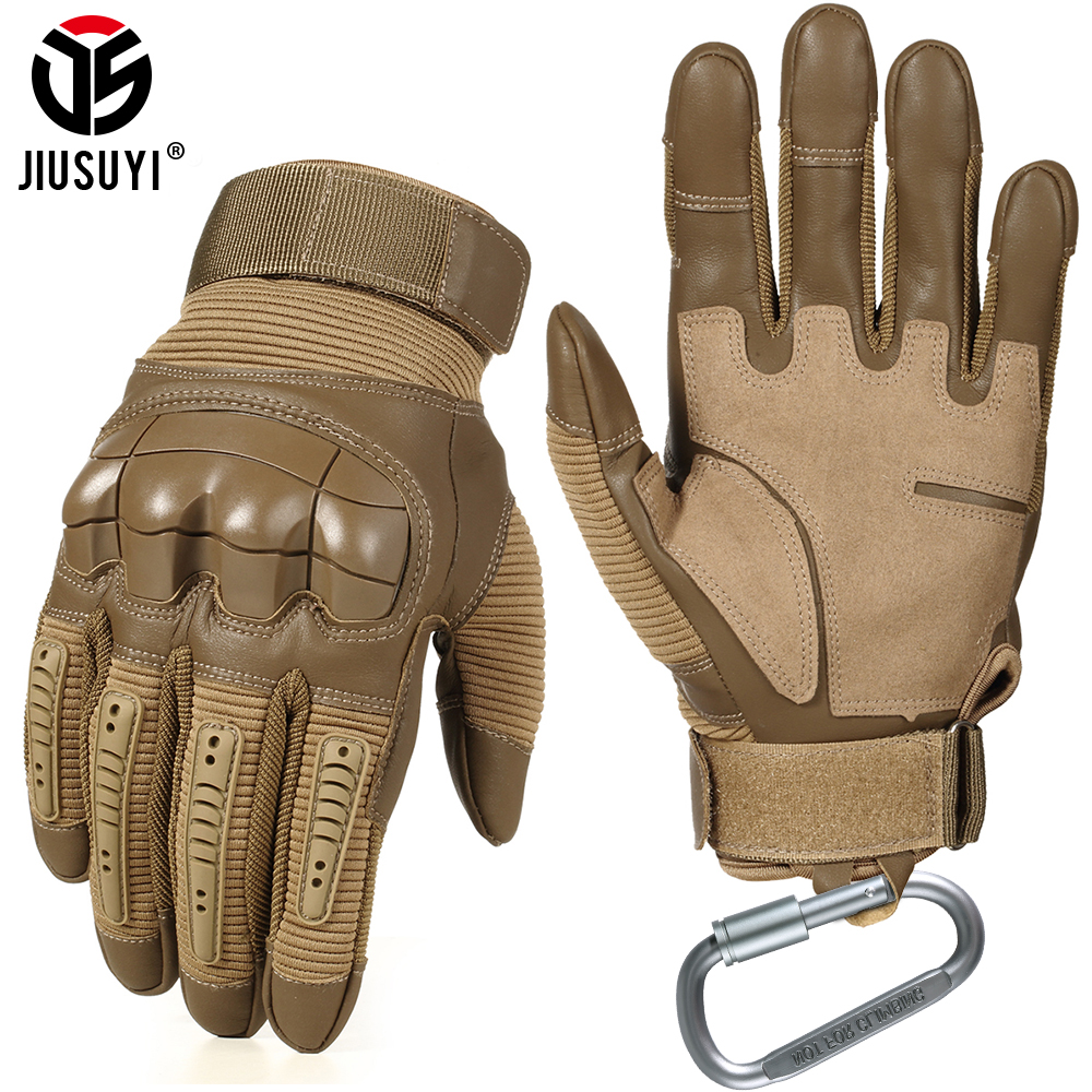 Military Army Tactical Gloves PU Leather Glove Long Full Finger Glove Rubber Knuckle Paintball Shooting Airsoft Touch Screen Men