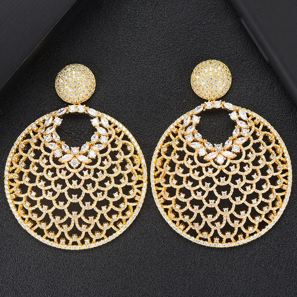 GODKI élégant pendentif rond boucles d'oreilles pendantes pour les femmes à la mode Dubai indien Zircon boucles d'oreilles nigérian mode bijoux 2019