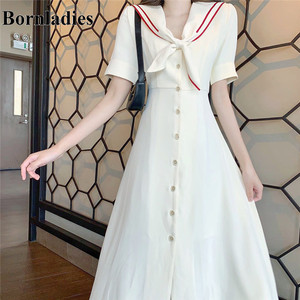 Bornladies White Color Fashion 2020 New Arrival Elegant Retro Vintage British Style Sailor Collar High Waist Slim Dress Women
