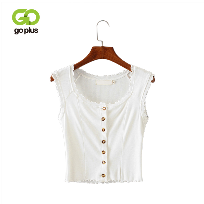 GOPLUS Women Sexy O-neck Short Sleeve Tops Single Breasted Crop Top T-shirts Knit Black White Woman Summer Slim T shirt