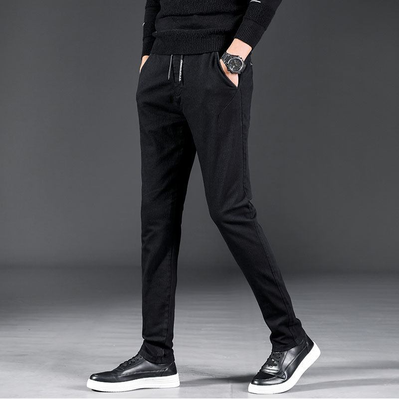 Lace-up Elastic Pants Men's Autumn And Winter New Style Comfortable Versatile Fashion Men'S Wear Youth Korean-style Casual Sport