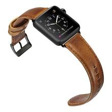 Retro Brown Genuine Leather Strap for Apple Watch Band VIOTOO Men Bracelet Watchbands Metal Buckle