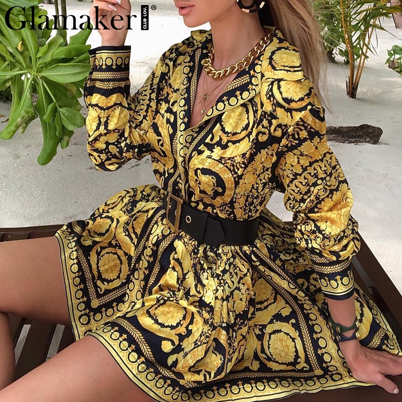 Glamaker Sexy paisley vintage impression or robe femmes col en v courte blouse robe automne élégant fête club robe grande taille robe