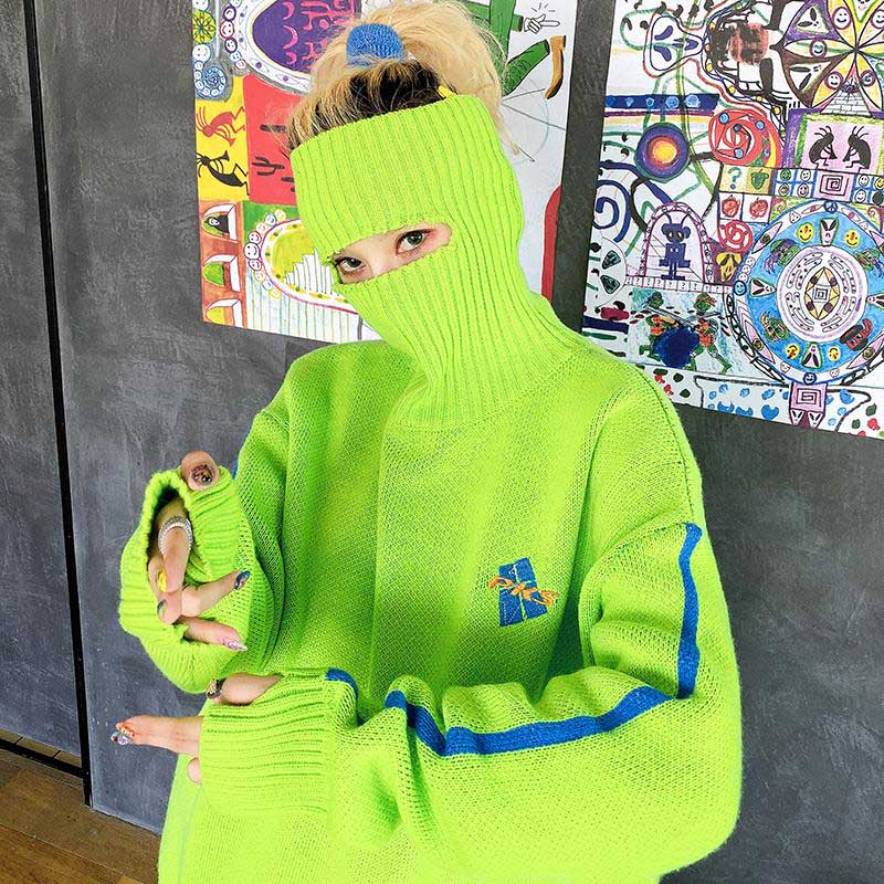 NiceMix Winter Autumn Turtlenecks Sweaters For Female Neon Loose Long Sleeve Knitted Pullovers Causal Hot Pink Oversized Long Sw