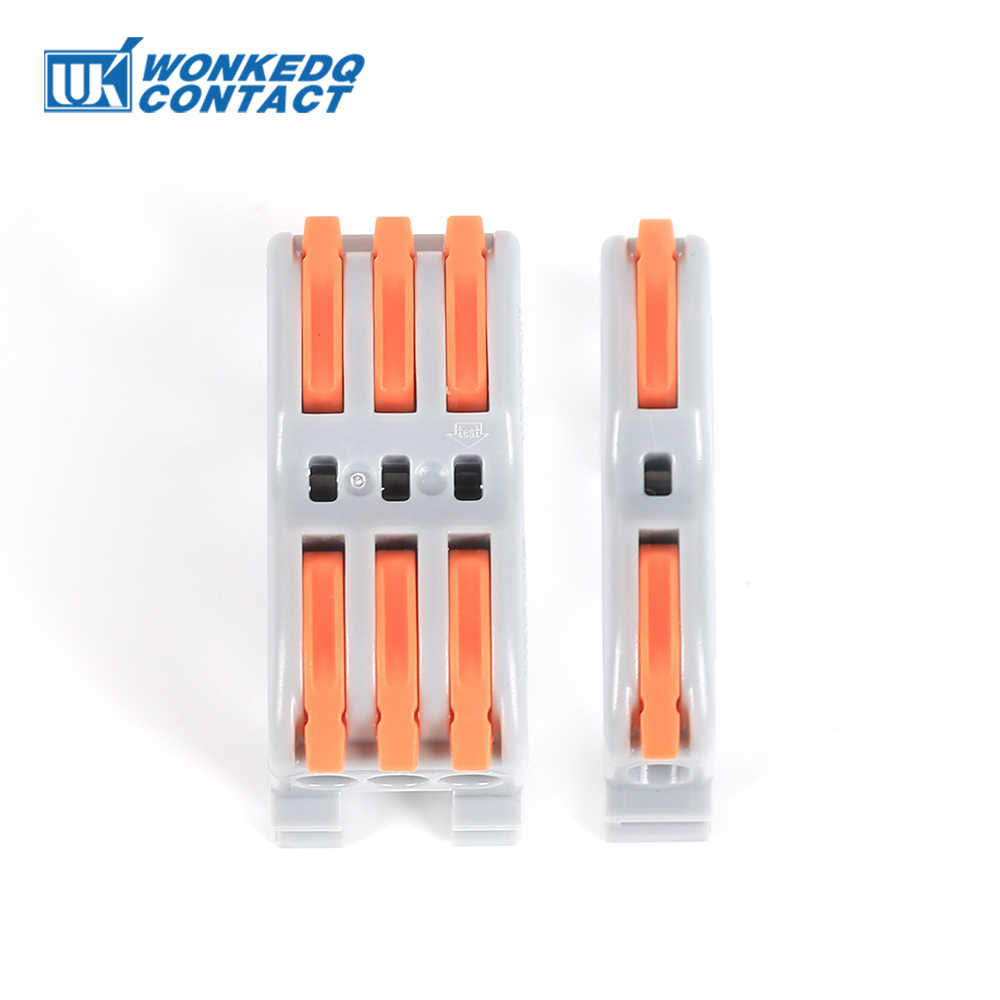 Din Rail Kawat Konektor Terminal Blok PCT Cepat Kabel Kompak Splicing Konduktor Cepat Konektor Kabel Terminal 10Pcs