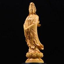 Statue Feng Shui en bois de buis, 10 ~ 35CM, Collection de bouddha GuanYin, Sculpture en bois, mascotte, mythologie historique, Statue de dieu