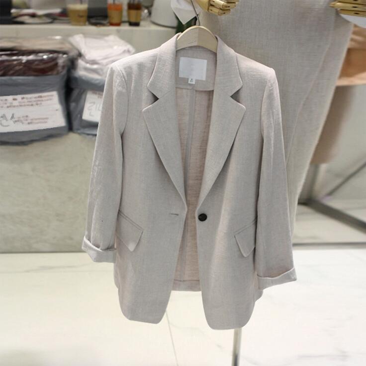 Casual Cotton Linen Blazer Suit Jacket Female Long Sleeve Blazer Coat Women Wild Blaser Mujer
