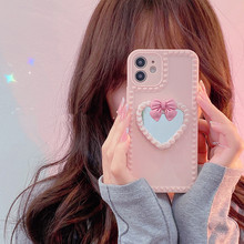 3D Bow Love Heart Mirror Glossy Silicone phone case for iphone 12 Pro Max 11 XR X XS Max 7 8 plus MiNi 6S SE 20 Cute Back Cover