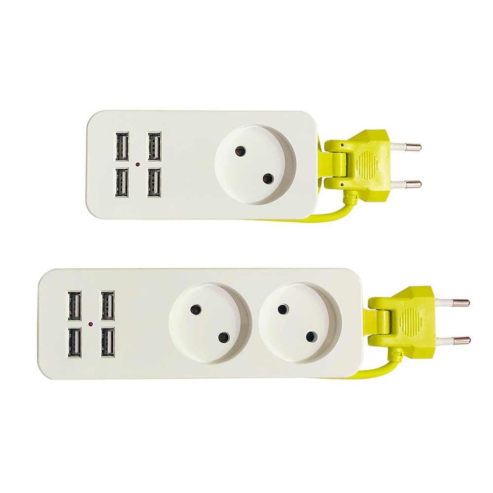 Di động 4 Cổng USB Nhiều Ổ Cắm Điện Sọc 1/2 Phích Cắm EU 1200W 250V 1.5m Cáp Treo Tường cho điện Thoại di động dành cho Điện Thoại Thông Minh Máy Tính Bảng