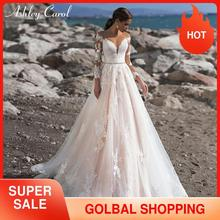 אשלי קרול אונליין חתונת שמלת 2020 ארוך שרוול נסיכה סקסית מתוקה חרוזים Sashes אפליקציות כלה שמלת Vestido דה Novia