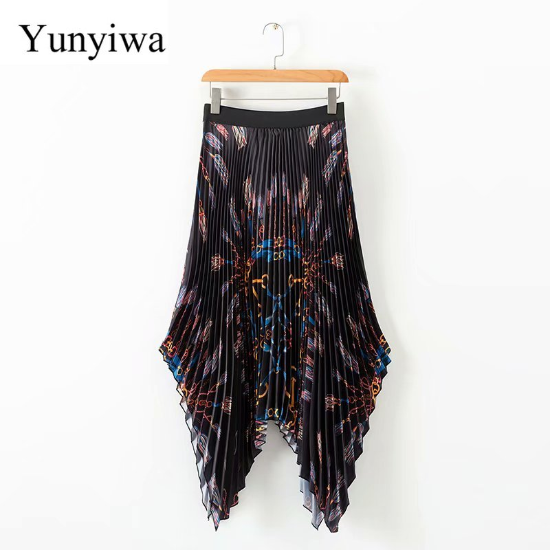New Women Vintage Elastic High Waist Chain Print Pleated Midi Skirt Faldas Mujer Ladies Asymmetrical Casual Chic Skirts