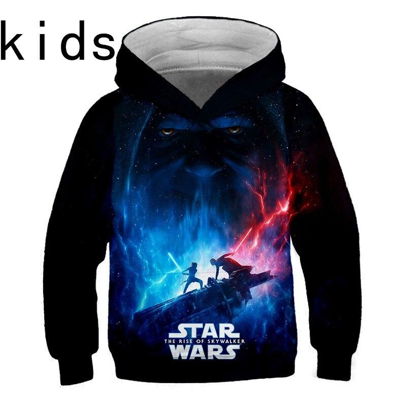 2019 New Baby Boys Girls Star Wars Hoodie 3D Print Top Long Sleeve Cool Design Kids Sweatshirt Casual Boys Girls Fashion Hoodies