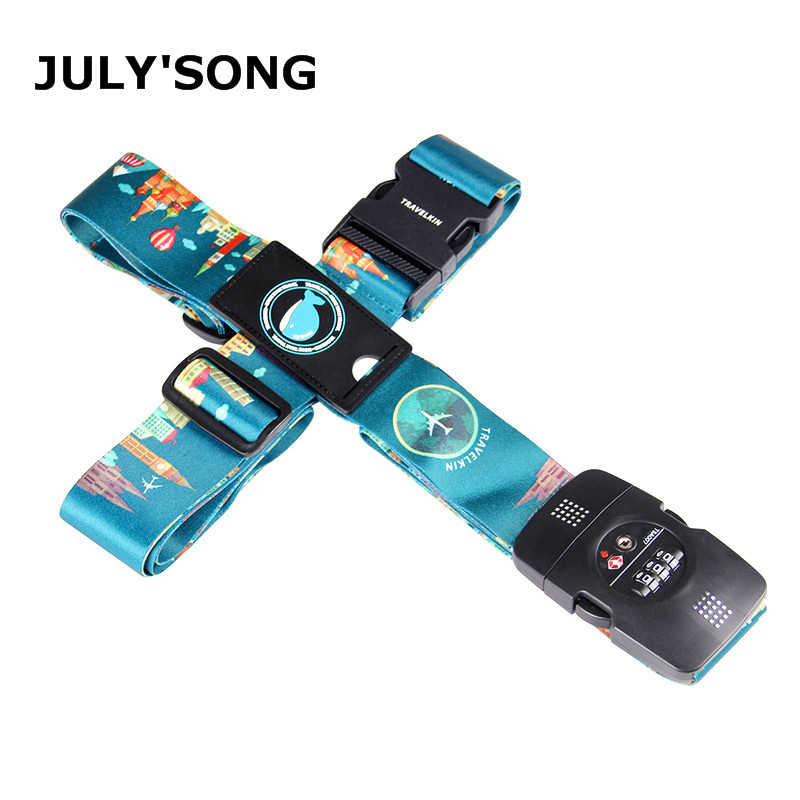 JULY'S SONG 3-Digit Password Lock Adjustable Luggage Strap Travel Suitcase Band Belt Baggage Strap Fit For 20-32'' Suitcase Belt