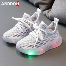 Size 21-30 Baby Breathable Toddler Shoes Boys Lightweight Glowing Sneakers Girls Luminous Sneakers Children Led Light Up Shoes cheap ANDDOH 4-6y 7-12y 12+y CN(Origin) Four Seasons unisex Rubber Fits true to size take your normal size Mesh (Air mesh) Lace-up
