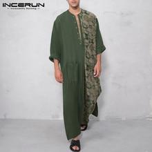INCERUN Mens Printed Muslim Robes Long Sleeve Patchwork Islamic Clothing Vintage Buttons Pockets Dubai Arabic Jubba Thobe S-5XL