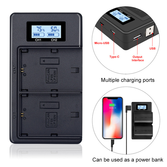 Palo LCD Dual USB Charger LP E6 LP E6 LPE6 Camera Battery Charger for Canon 5D Mark II III 7D 60D EOS 6D 70D 80D camera