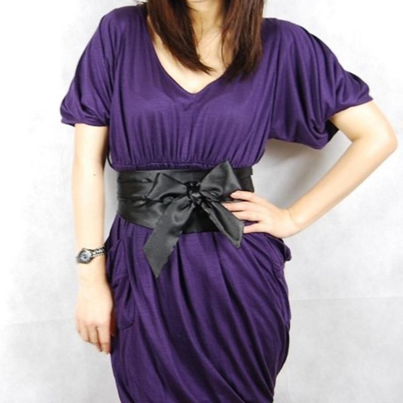 Silk Ribbon Pure Color Dress Decoration Elegant Lady Bow Knot Slimming Belt Wide Waistband Corset Tie Belt