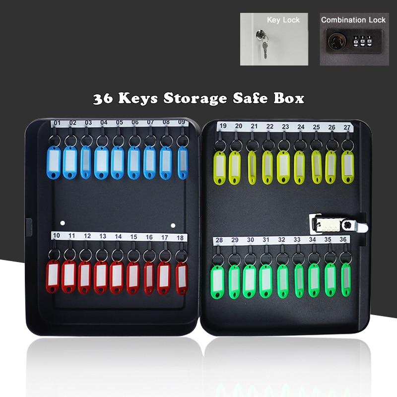New 36 Keys Safe Storage Cabinet Combination/Key Lock Spare Car Key Metal Organizer Box For Office Factory School Hospital Hotel