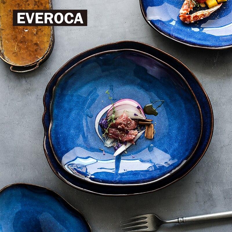 Керамическая тарелка, нестандартная посуда, европейская тарелка для еды, синего цвета, глазурованная Салатница, основное блюдо, кухонные пр...