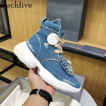 Casual Shoes Sneakers Runway High-Top Women Denim Lace-Up Fringe Round-Toe Blue