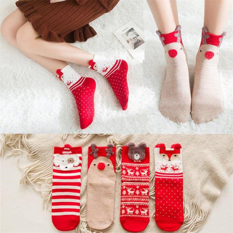 New 4 Pair Women Cotton Socks 3d Cartoon Red Dog Elk Bear Fox Christmas Socks For Spring Autumn Winter Hot Sale