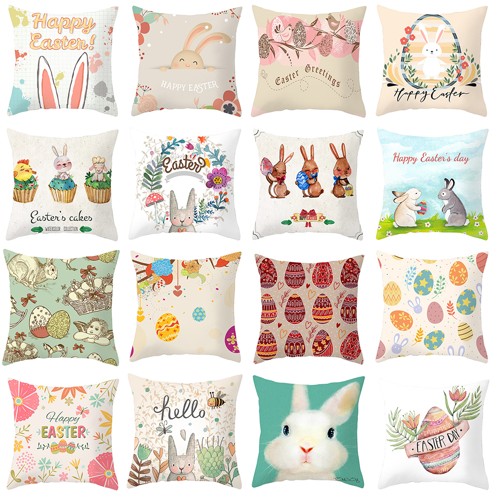Easter Throw Pillow Cushion Cover Bunny in Hand Drawn Style with Eggs and Blossoms Retro Decorative Square Accent Pillow Case|Pillow Case| |  - title=