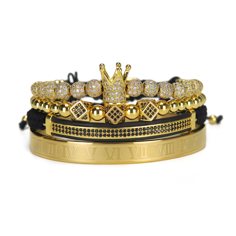 4pcs/Set Luxury Copper beads King Crown Men Bracelet Stainless steel bangle CZ Ball macrame bracelets & bangles for Men Jewelry