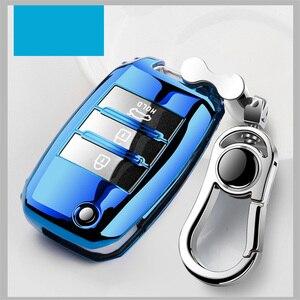 Image 1 - Protection de couverture de clé de voiture pliante en TPU pour KIA Sid Rio Soul Sportage Ceed Sorento CeratoK2 K3 K4 K5 étui à distance protéger porte clés