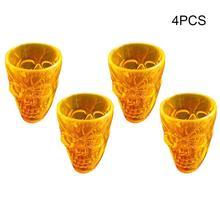 4 шт. прозрачная Хрустальная чашка с черепом для виски, вина, водки, питьевая посуда, Подарочная чашка для мужчин, украшение на Хэллоуин