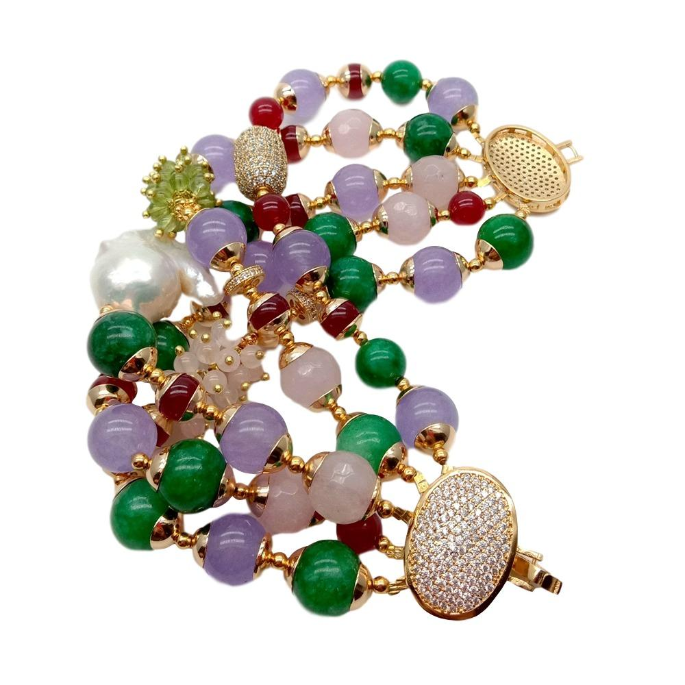 Pulsera redonda facetada para mujer, Perla Keshi de agua dulce de 8 ''y 5 hebras, multicolor