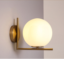modern gold E27 wall lamp white glass frosted glass lamp new design lamp living room bedroom light bedside lamp