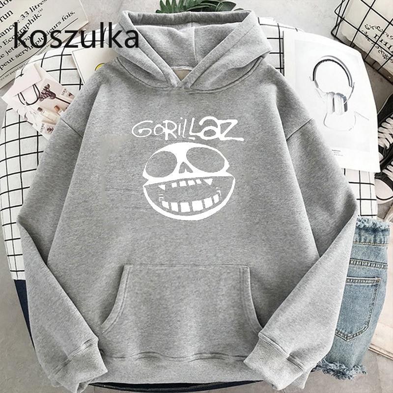 Gorillaz Skull  Funny Print Hoodie Kpop Korean Style Loose Sweatshirt Korean Fashion Hip Hop All-match Leisure Harajuku Hoodie 2