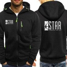 The Flash STAR Print Comic Books TV Star Labs Hoodies Fashion Zipper Coat Streetwear Male Jacket