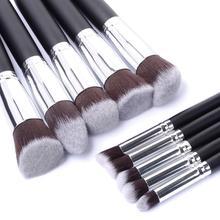 10 peças prata/ouro maquiagem escova ferramentas de maquiagem sombra escova fundação pincel blush & maquiagem pincel maquiagem ferramentas