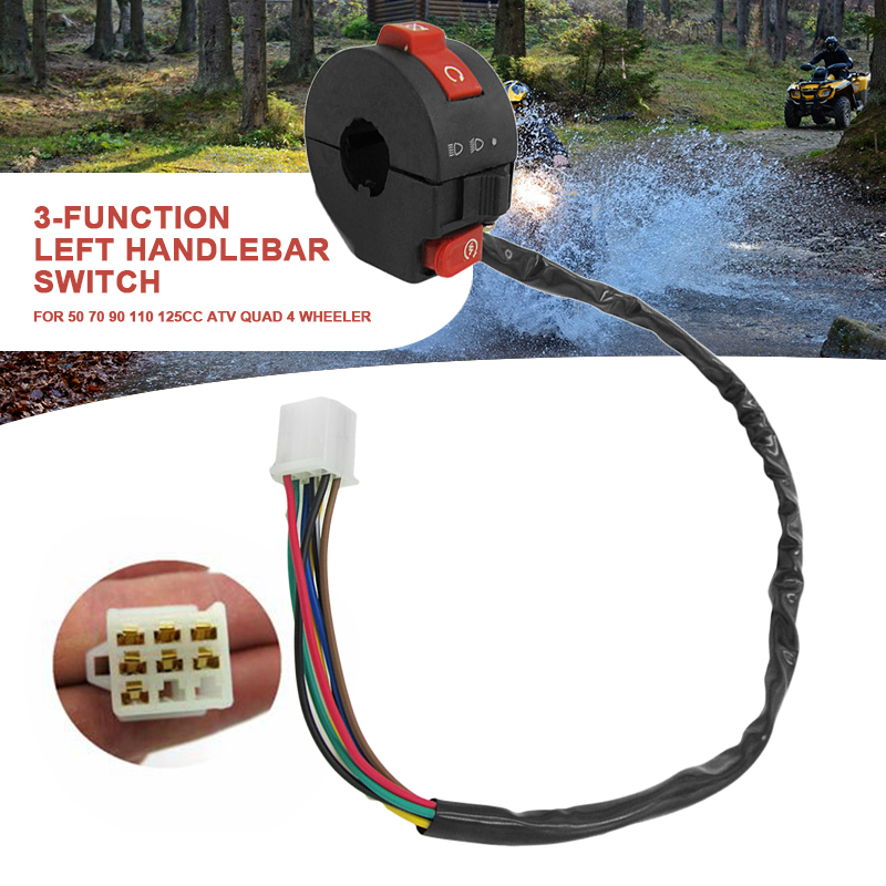 ATV Light Button Switch 3 Function Left Handlebar Switch Assembly For 50/70/90/110/125CC ATV Quad Dirt Bike ATV Accessories