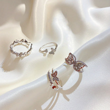 Multilayer New 2020 Women Rings Butterfly Light Silver Color Crystal Zircon Wings Ring For Trendy Jewelry