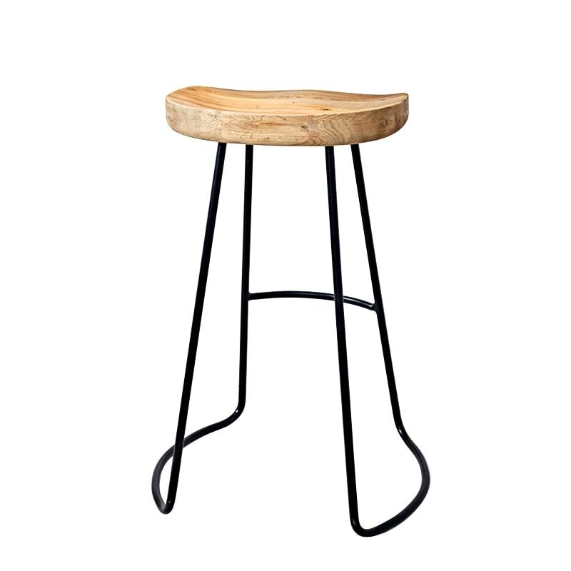 Solid Wood Bar Stool High Iron Wrought   Modern Minimalist Fashion Creative Home Living Room Leisure