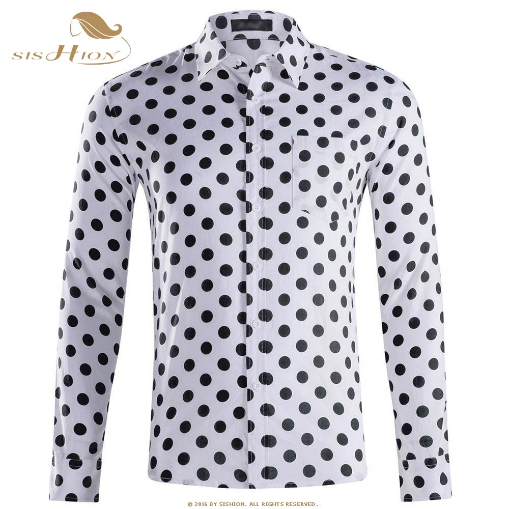 SISHION Autumn Casual <font><b>Mens</b></font> <font><b>Polka</b></font> <font><b>Dots</b></font> <font><b>Shirts</b></font> Long Sleeve Cotton <font><b>Men</b></font> QY0339 Black White Plus Size Single Bressted <font><b>Shirt</b></font> <font><b>Men</b></font> image