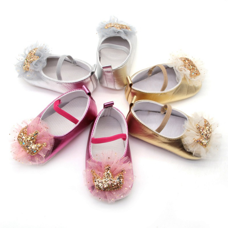 Newborn Baby Girl Shoes With Mesh Bow Soft Anti-Slip Baby Girl Crib Shoes Sequin Crown Princess Dress Shoes For 0-18 Months