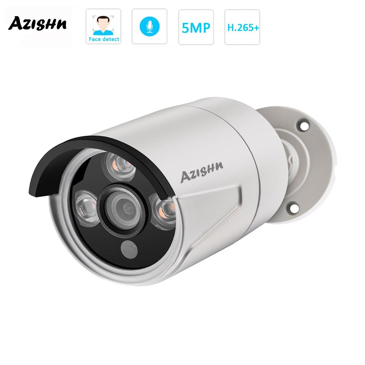 AZISHN H.265 + 5MP POE IP Kamera 2592X1944 Outdoor Video Gesicht erkennung 3IR Array LEDS CCTV Sicherheit ONVIF für POE NVR System