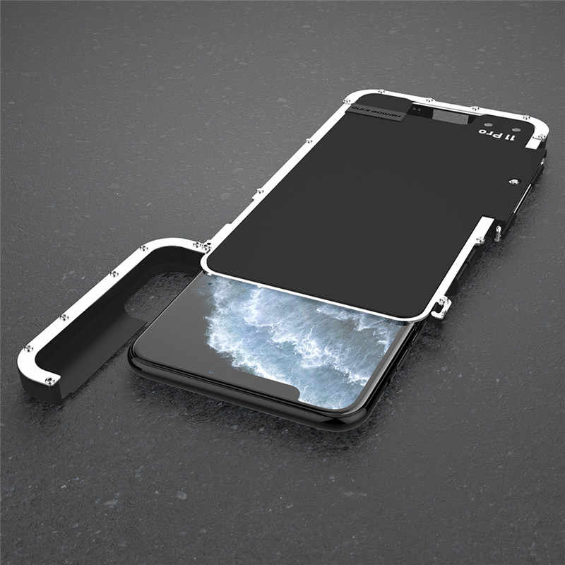 R-JUST funda a prueba de golpes para iPhone 11 Pro Max iPhone 11 Flip aluminio Metal King Iron Man 360 protector armadura teléfono caso