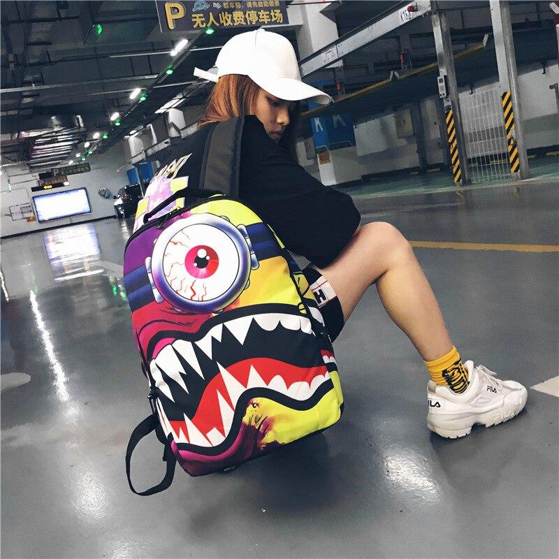 Mode élégante toile originalité impression Mochila sac à dos femme Anime cartable femmes sacs d'école pour adolescentes sac à dos