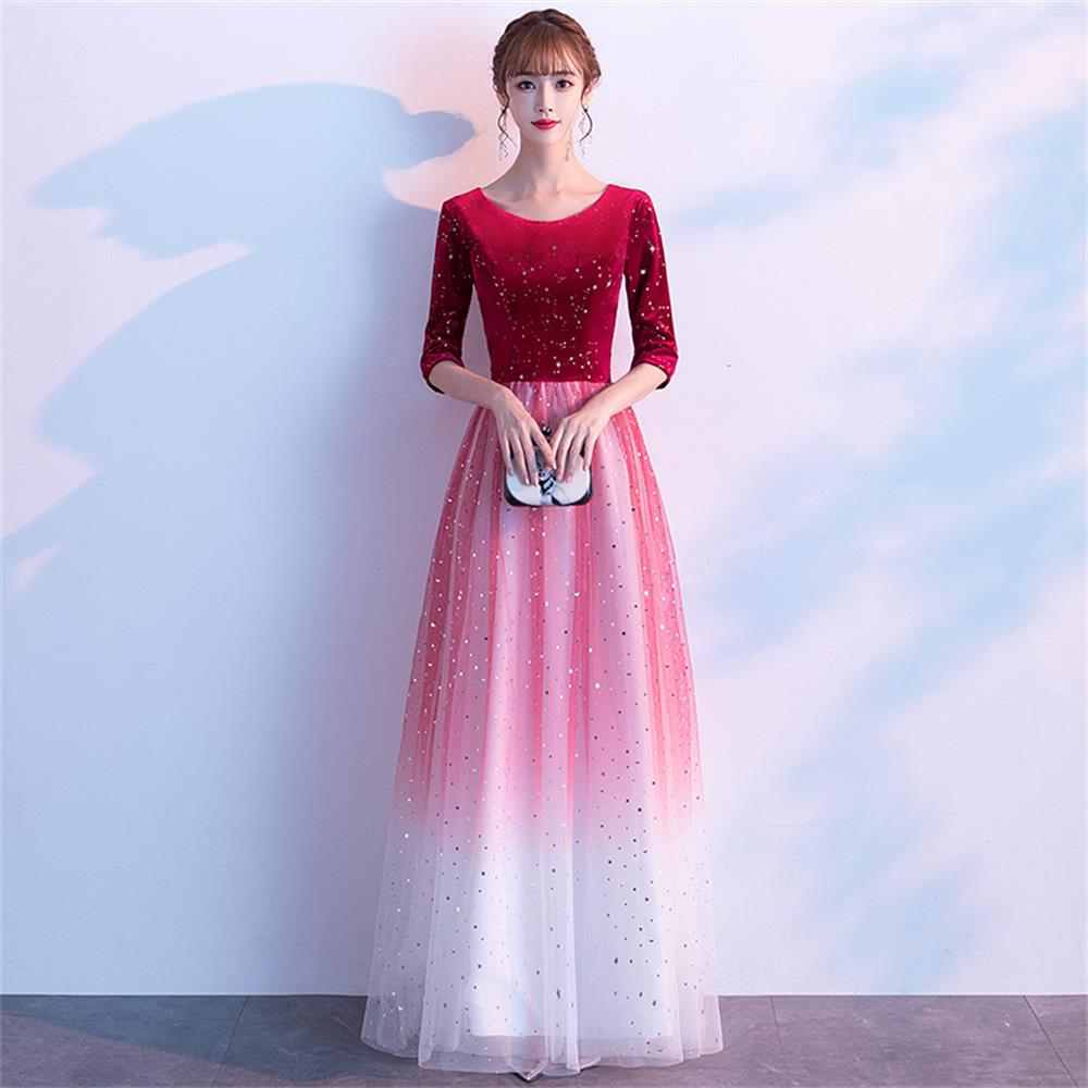 Hafe Sleeve Formal Dress A-Line Evening Dress O-Neck Tull Long Party Dress