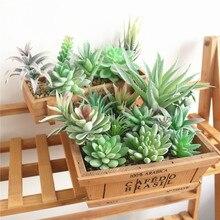 Plantas suculentas artificiales de flocado verde bonsái de escritorio plantas artificiales de San Valentín decoración de boda Planta Artificial
