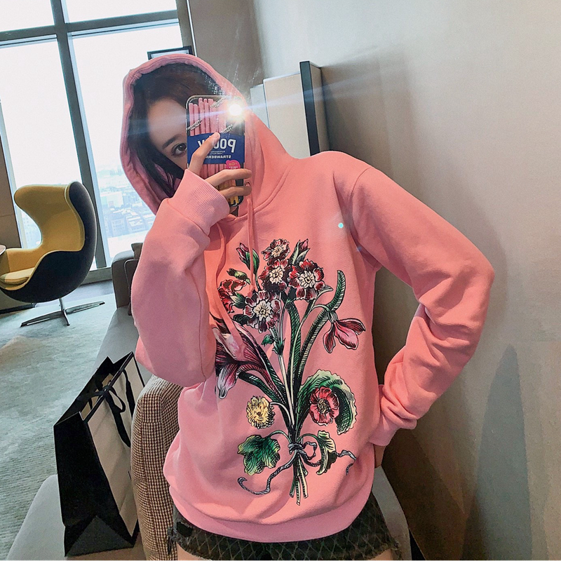 High Quality Hoodies Runway Design Hooded Hoodies Women Flower Printed Cotton Sweatshirt 2020 New High-end Casual Loose Pullover