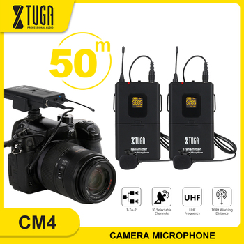 XTUGA Professional Camera Microphone UHF Wireless Lavalier Microphone UHF lapel Mic with 30 Channels for SLR Camera,DV,Camcorder xtuga uhf wireless lavalier lapel microphone system live recording mic with rechargeable transmitter