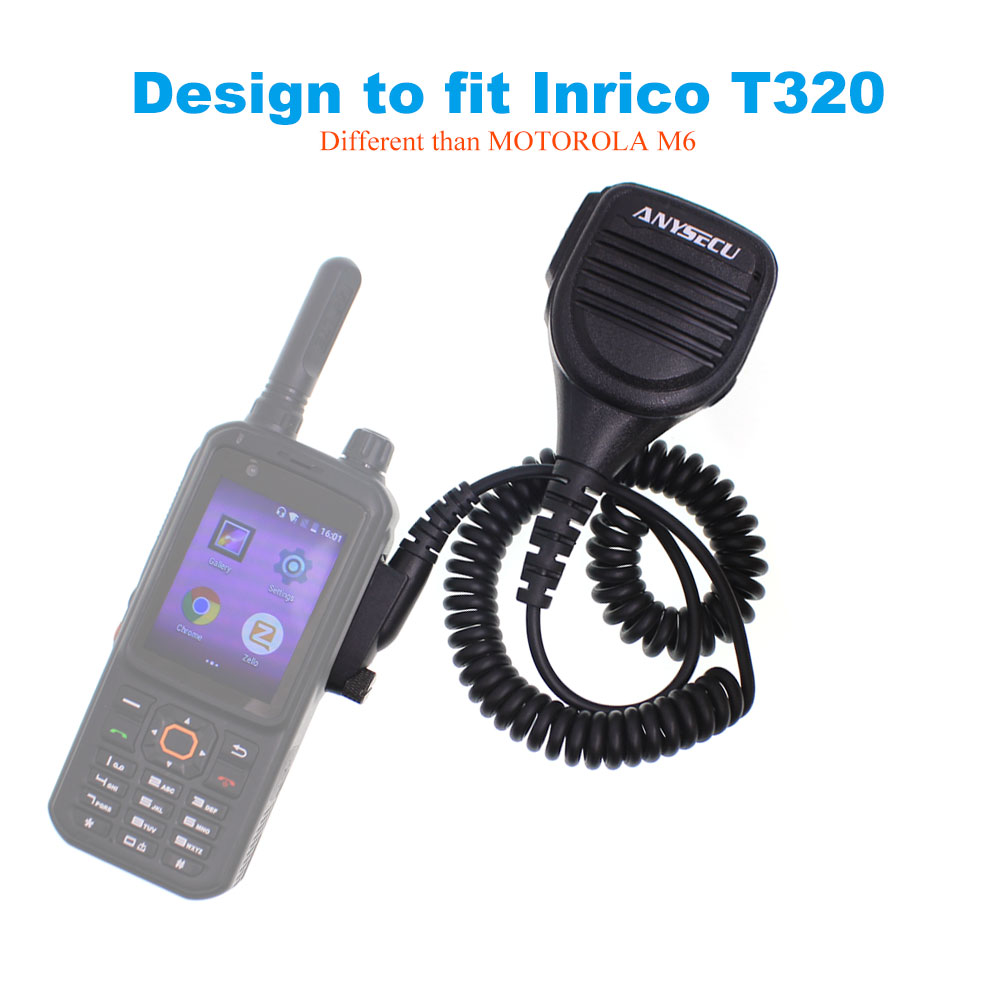 ANYSECU Microphone Design To Fit Inrico T320 4G LTE Network Radio Zello PTT Walkie Talkie Phone