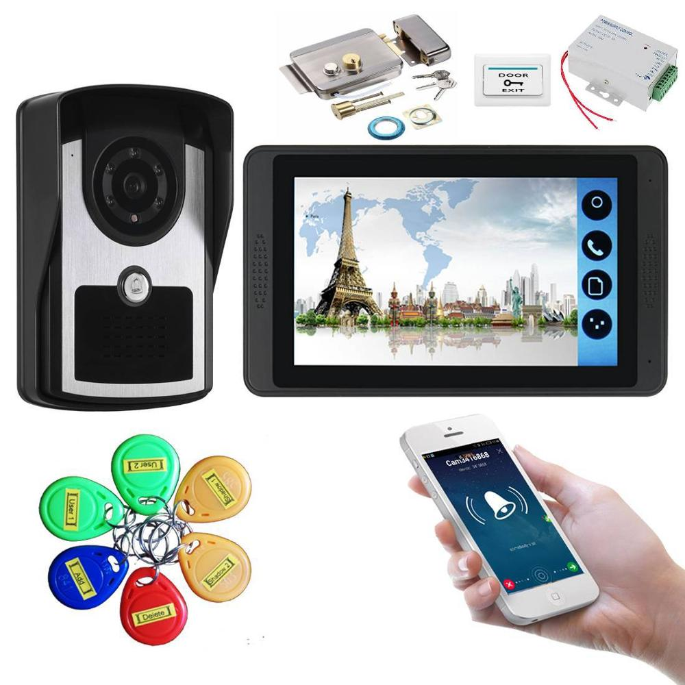 YobangSecurity RFID Unlock 7 Inch WIFI Wireless Video Monitoring Door Phone Doorbell Camera Intercom System Suite APP Control