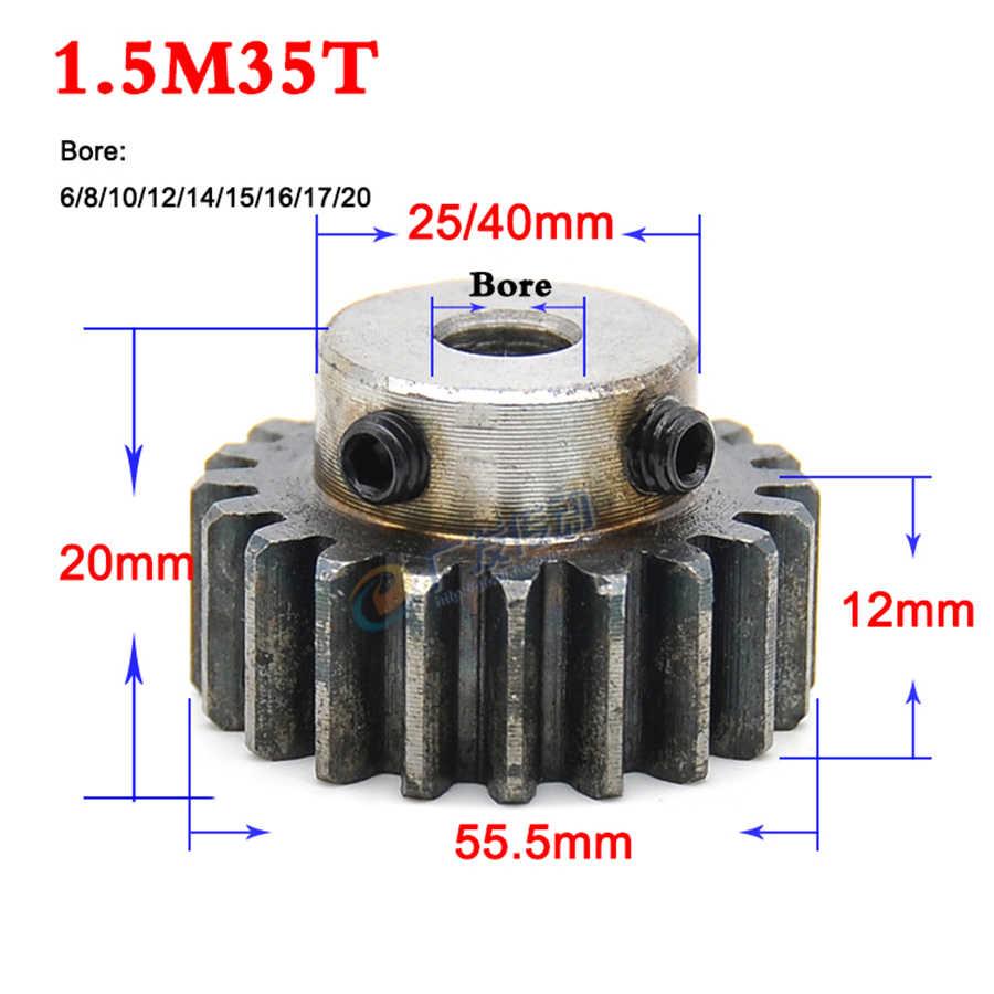 Spur Gear 1.5Mod 35T Motor Gear 45# Steel Outer Dia 55.5mm Bore 8mm x 1Pcs